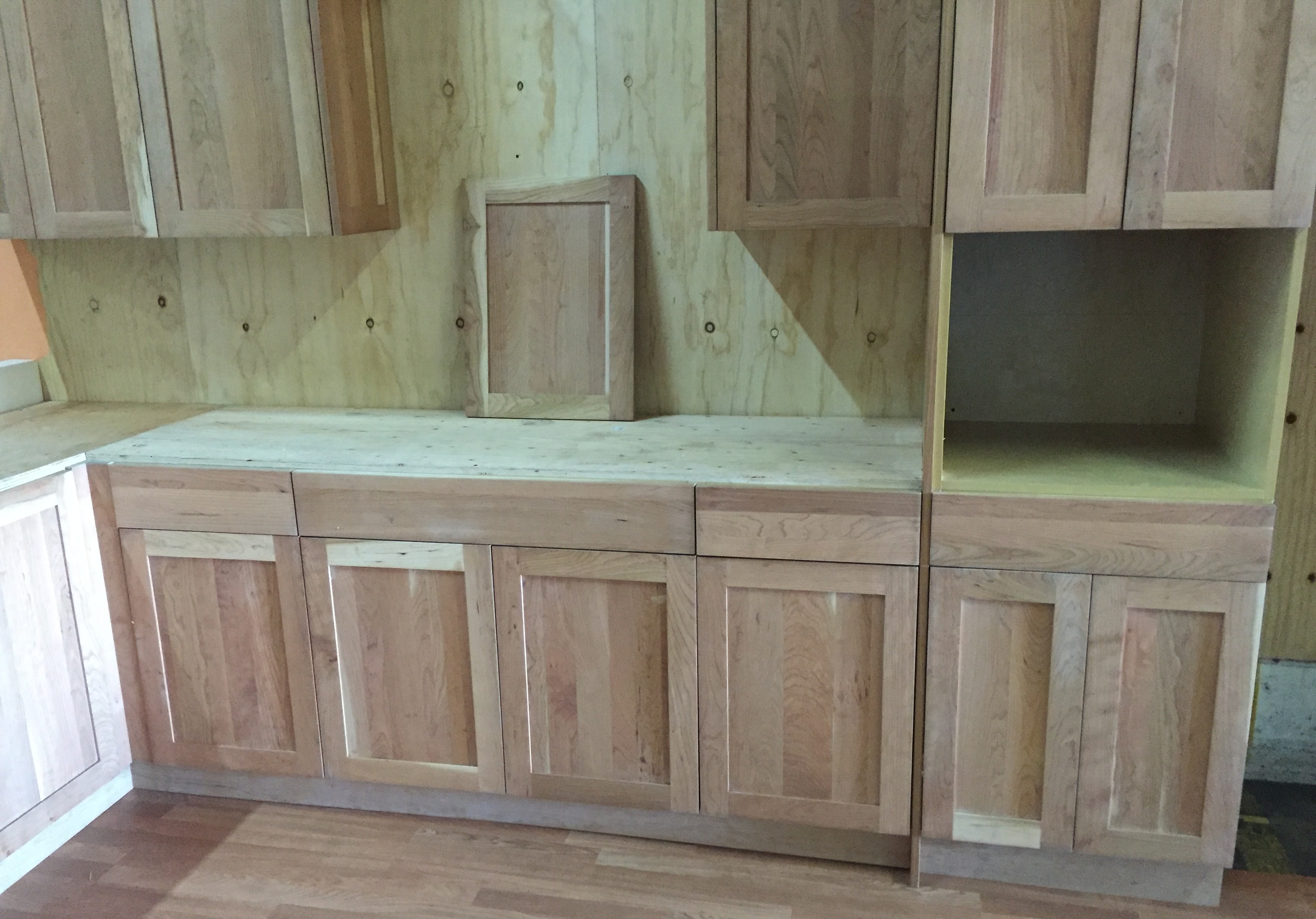 Unfinished natural american cherry shaker kitchen cabinets for Shaker kitchen cabinets