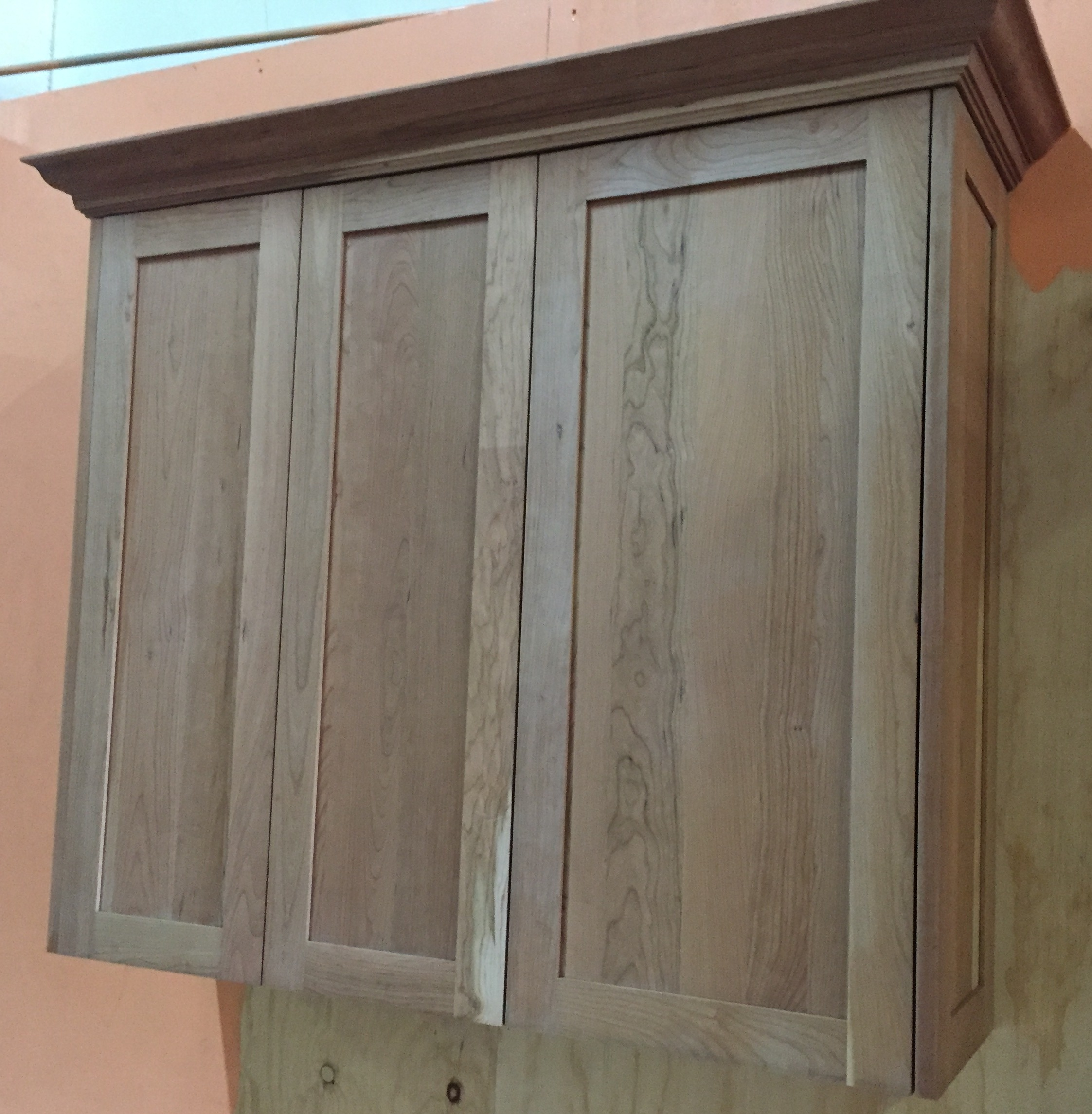 Unfinished natural american cherry shaker kitchen cabinets for Unfinished kitchen cabinets