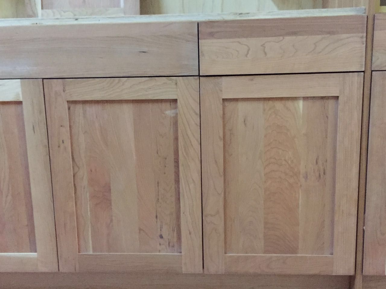 Unfinished natural american cherry shaker kitchen cabinets for Cabinets kitchen cabinets