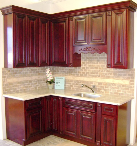 Burgundy rope maple kitchen cabinets for Burgundy kitchen cabinets pictures