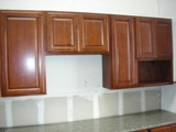 Cherry color Russian Birch Kitchen Cabinets gallery image
