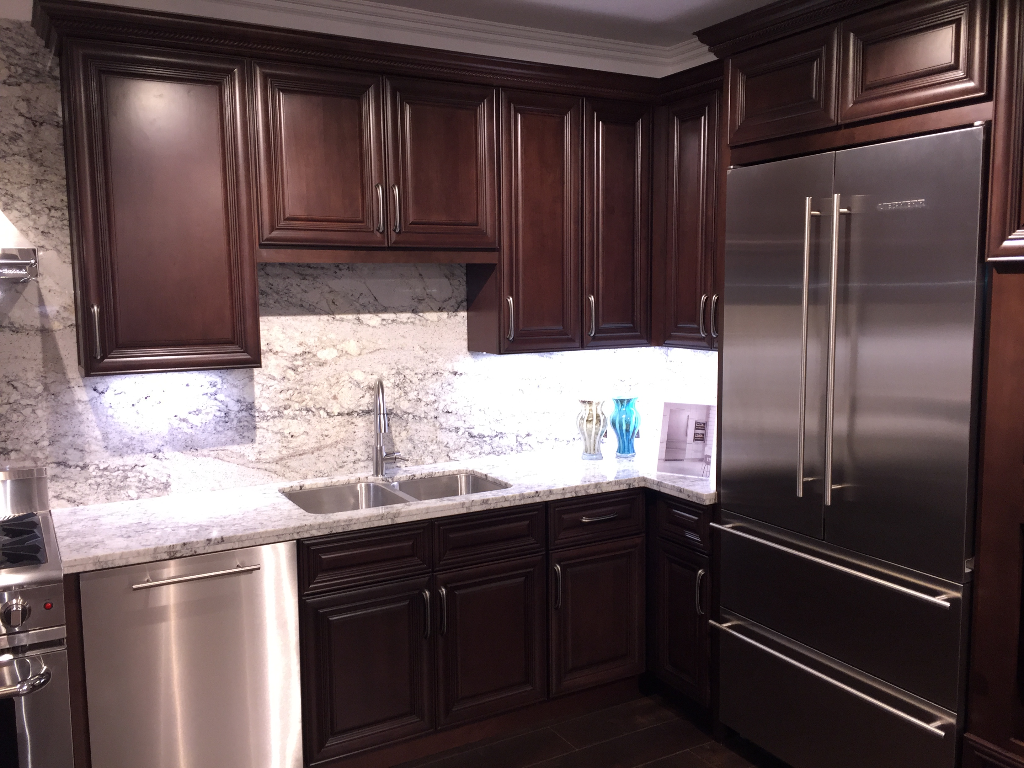 English Walnut colored Cherry Kitchen Cabinets