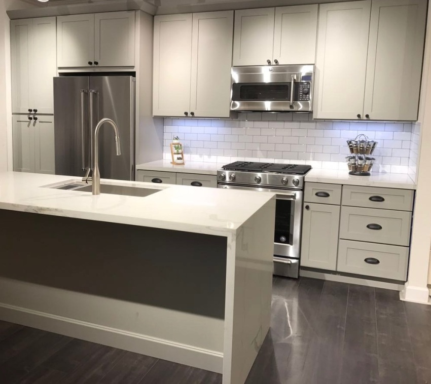 French Gray Kitchen Cabinets: Snow White & French Grey Shaker Kitchen And Vanity Cabinets
