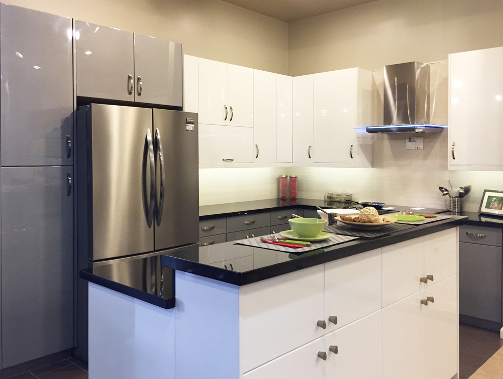 High Gloss White Flat slab panel Cabinets