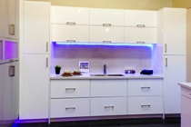 High Gloss White Flat slab panel Cabinets gallery image