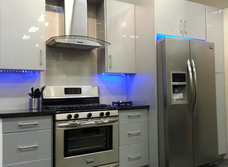High Gloss Grey Flat slab panel Cabinets