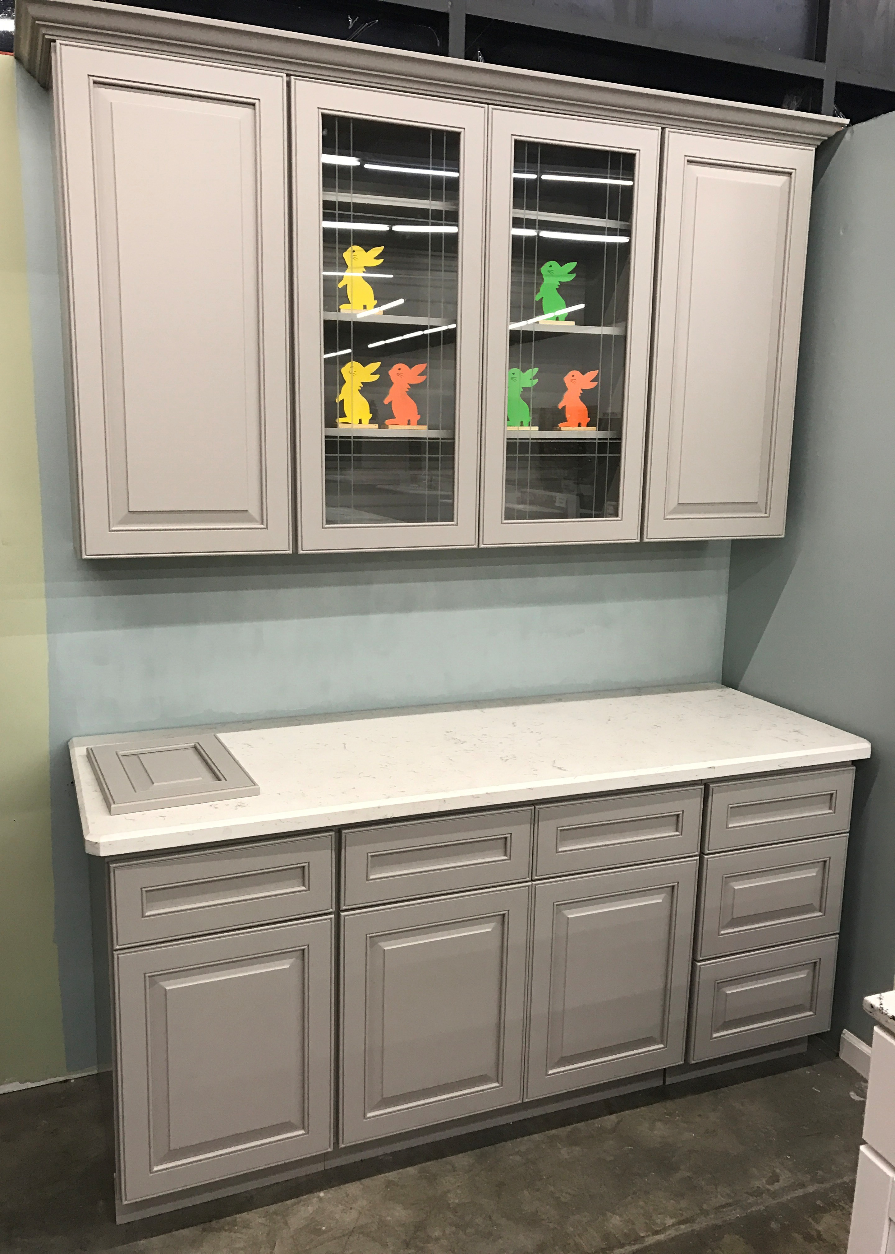 3W Light Grey Painted Maple Raised Panel Cabinets, dovetail drawers with soft close slides