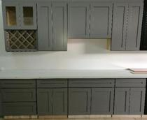 Gray Poplar Hardwood Shaker Kitchen Cabinets Photo Album gallery image