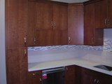 Natural Cherry Flat Panel Kitchen Cabinets gallery image