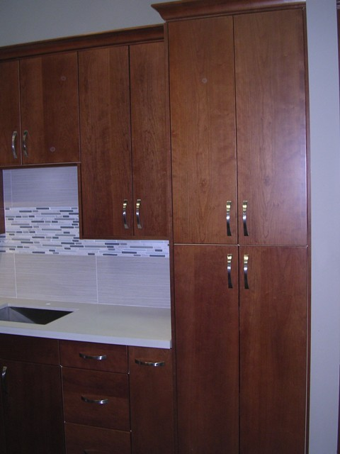 Discontinued 2019 Natural Cherry Flat Panel Kitchen Cabinets