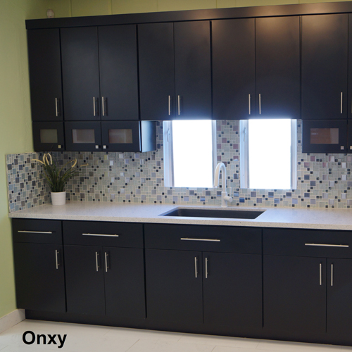 Black slab modern kitchen and vanity cabinets for Flat black kitchen cabinets
