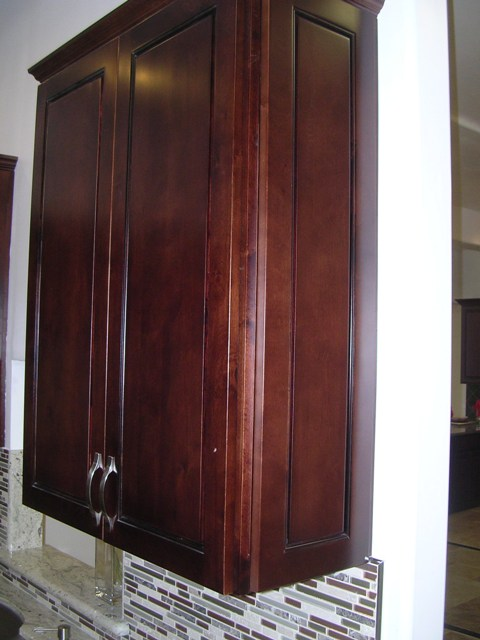 Walnut Colored Maple Flat Panel Kitchen Cabinets