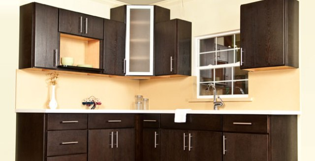 Chocolate Oak Slab Door Kitchen Cabinets Gallery Image