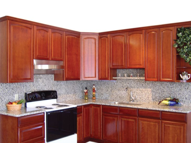 Traditional Cherry Arched Kitchen Cabinets Photo Al Gallery Image
