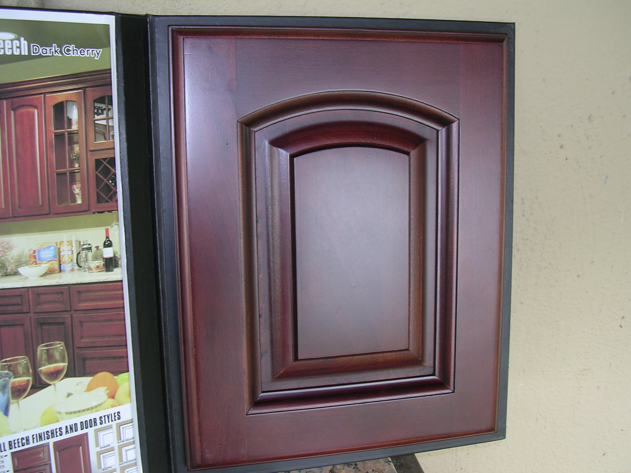 Dark cherry color arched door Kitchen Cabinets catalog