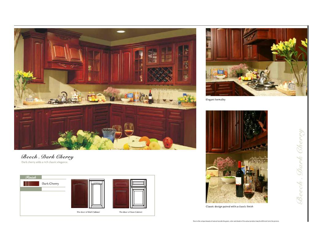 Beech dark cherry color arched door kitchen cabinets catalog for Arched kitchen cabinets